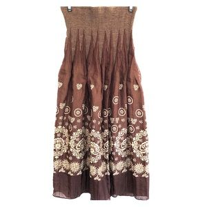 Dresses & Skirts - Brown & cream smocked waist peasant skirt size M
